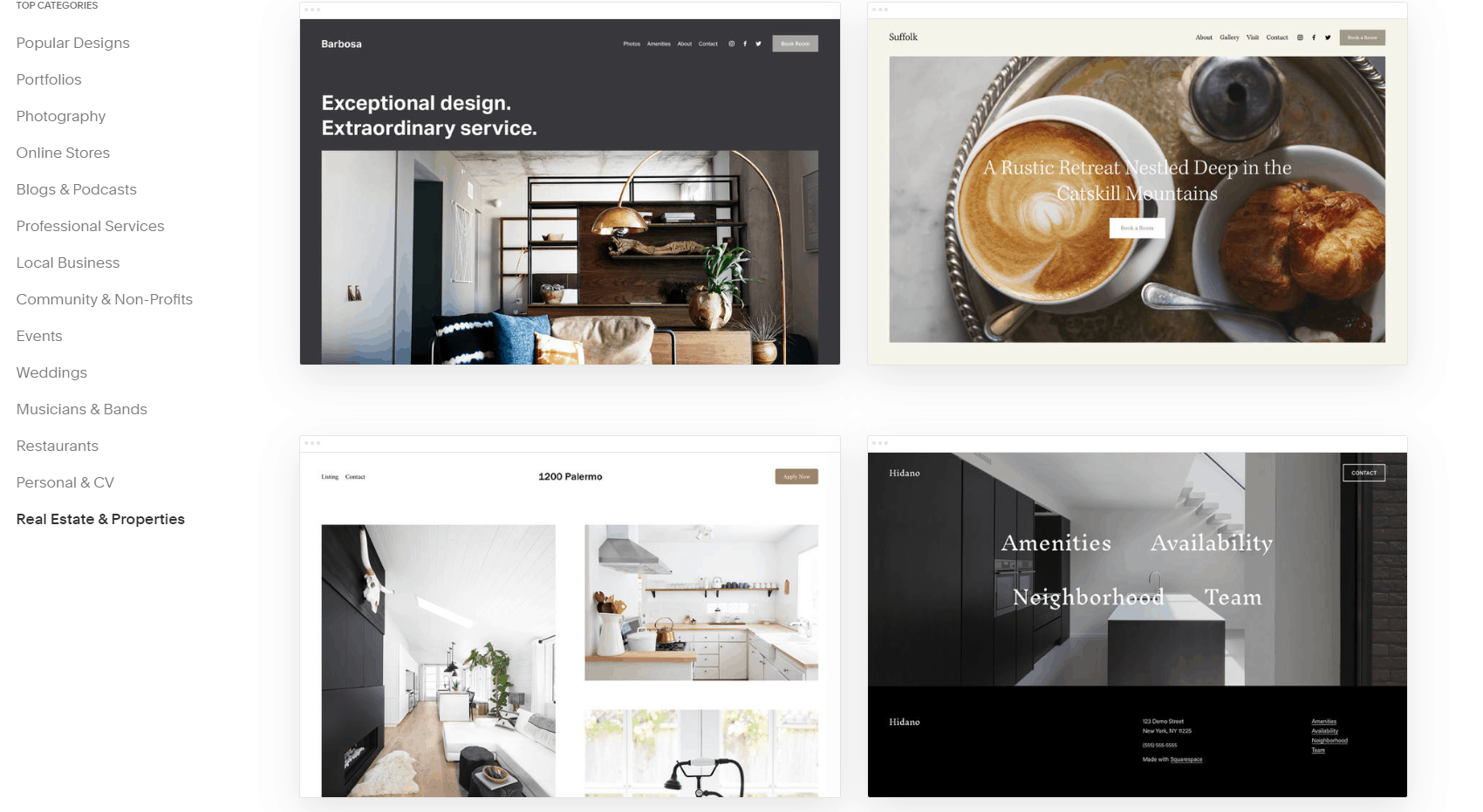 Squarespace real estate templates