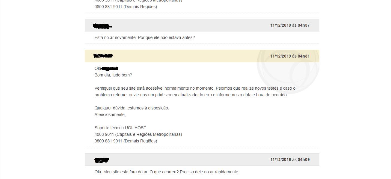 atendimento ao cliente chamado UOL Host