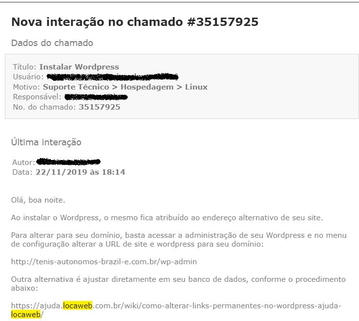 atendimento ao cliente chamado Locaweb