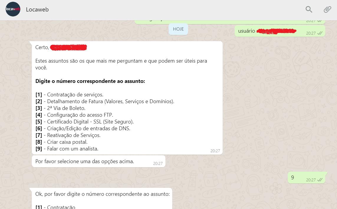 atendimento ao cliente whatsapp Locaweb