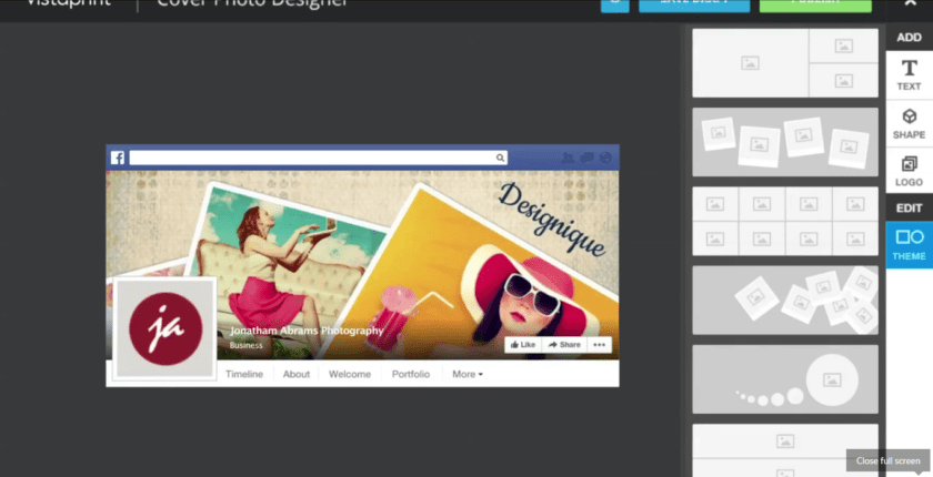 Vistaprint cover designer