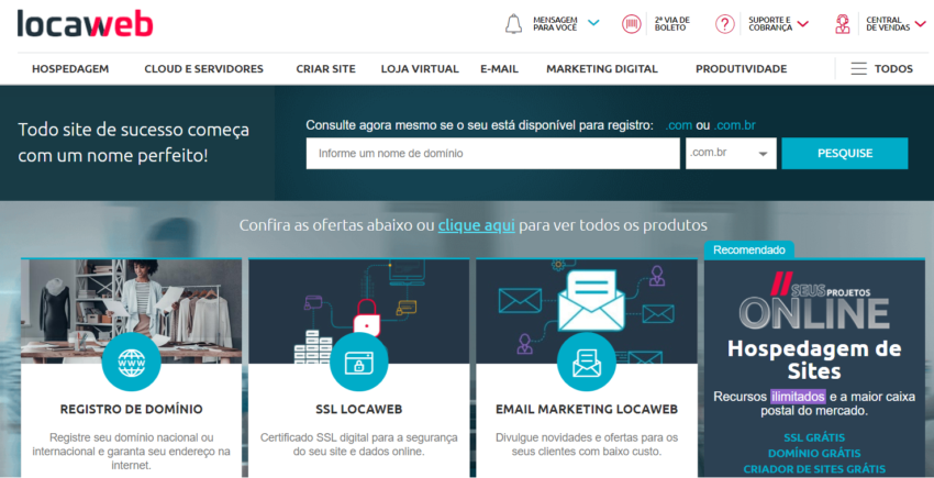 Locaweb main page