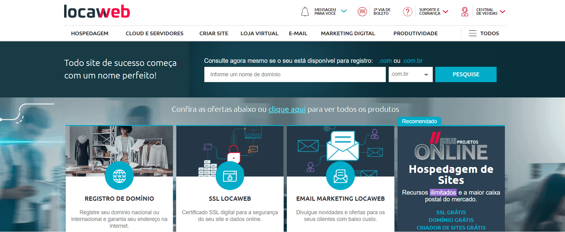 página inicial Locaweb 2020