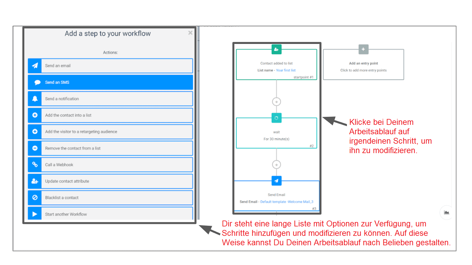 Sendinblue automation workflow.