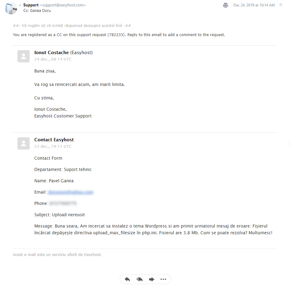 Test asistență Easyhost