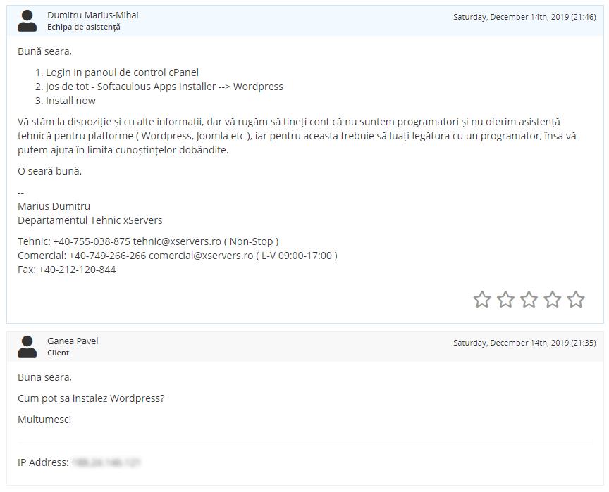Test asistență xServers