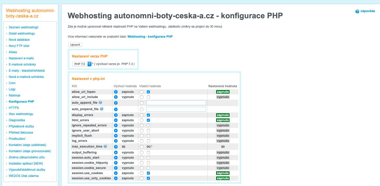 Náhled rozhraní pro konfiguraci PHP