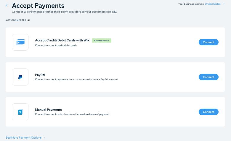 Wix payment gateways