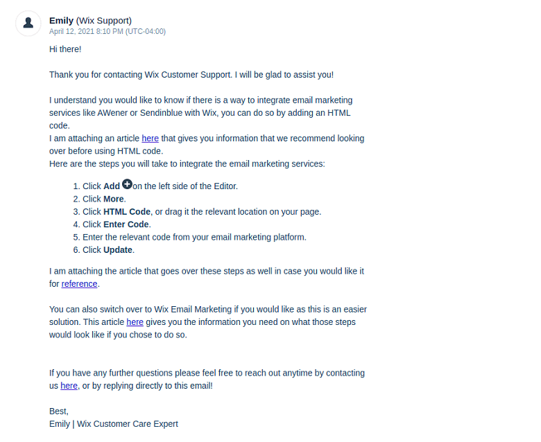my first email response from Wix support