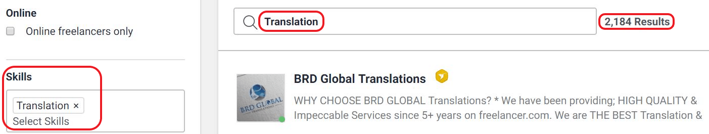 Freelancer translation job