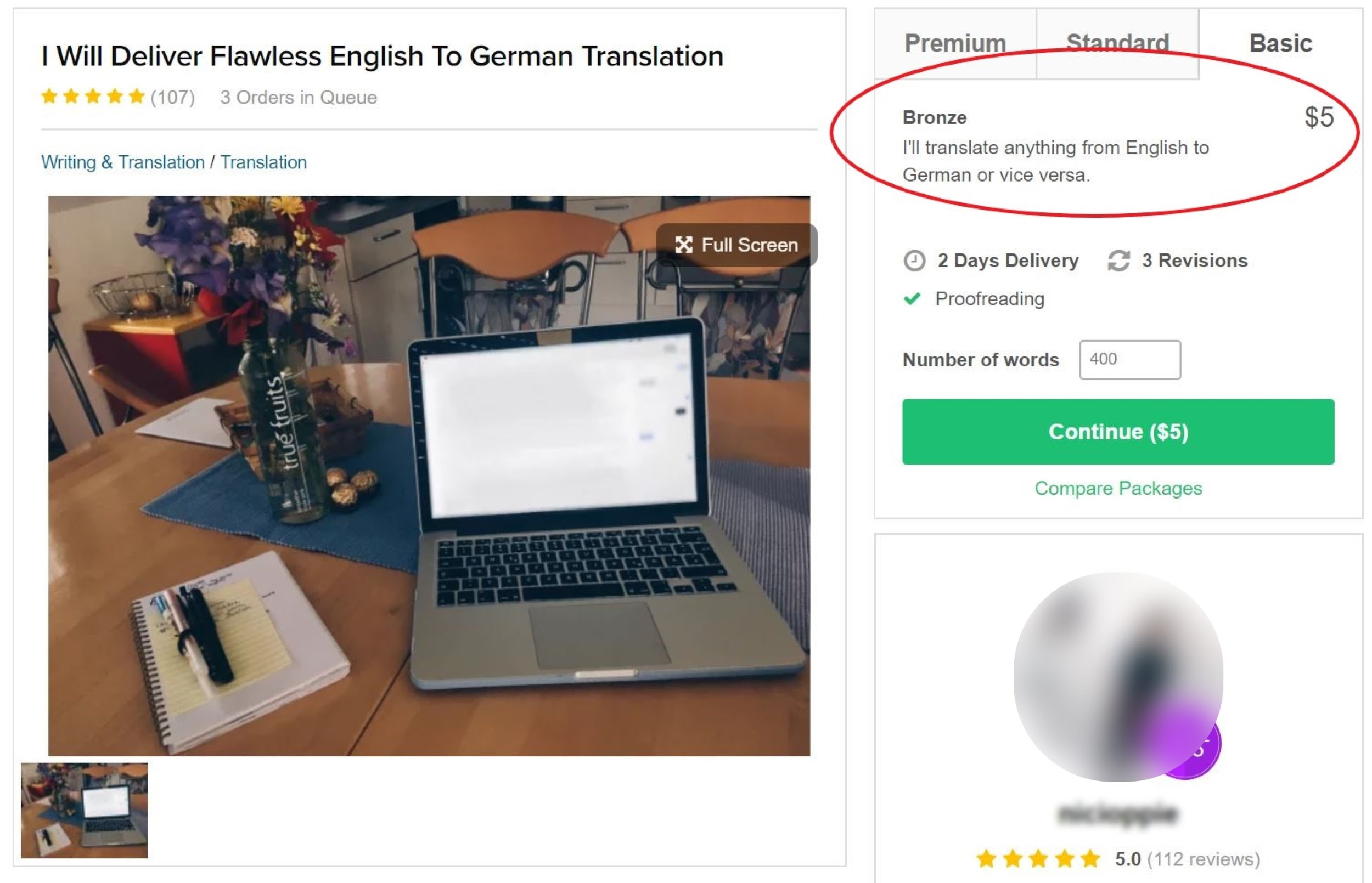 Fiverr translation job