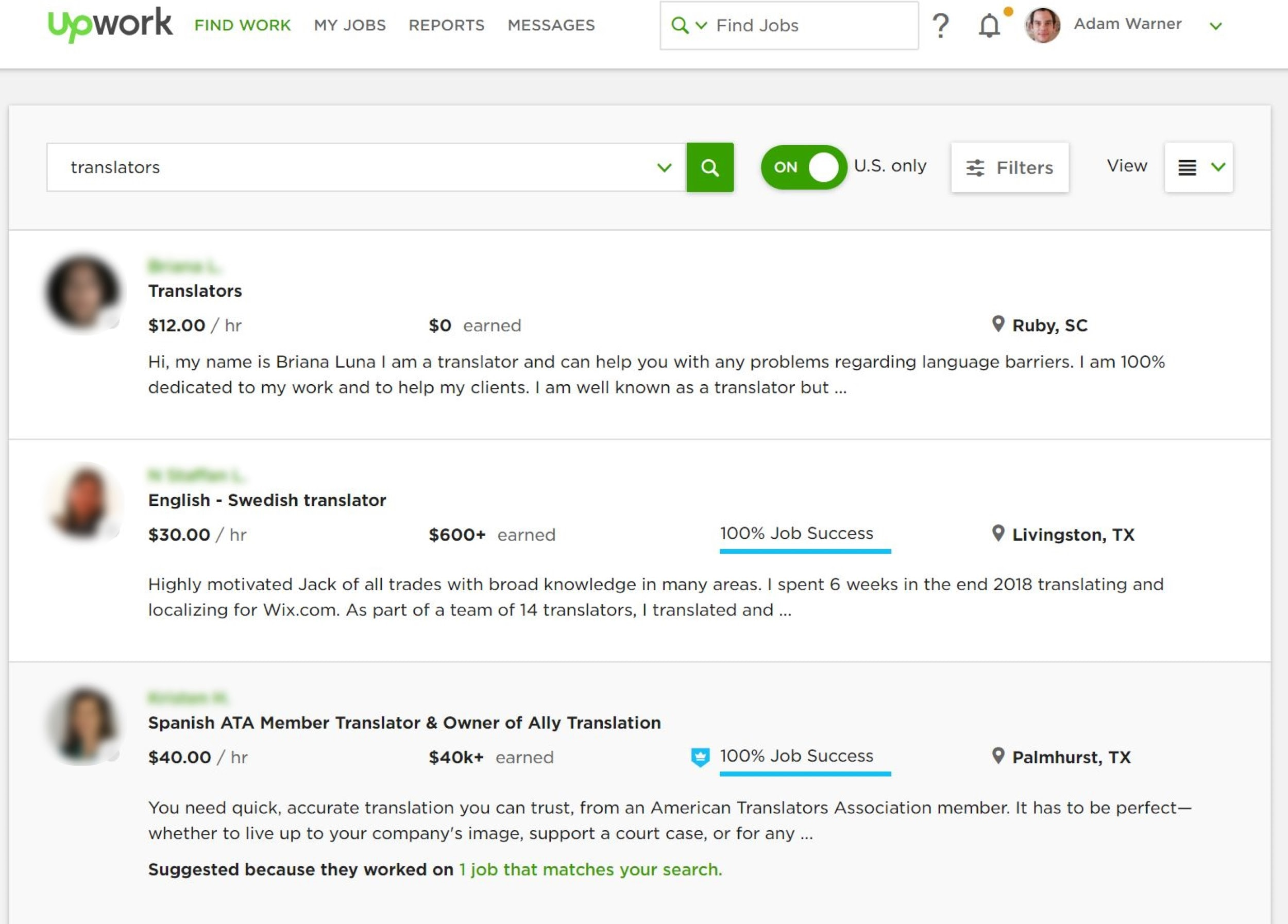 Upwork translation job