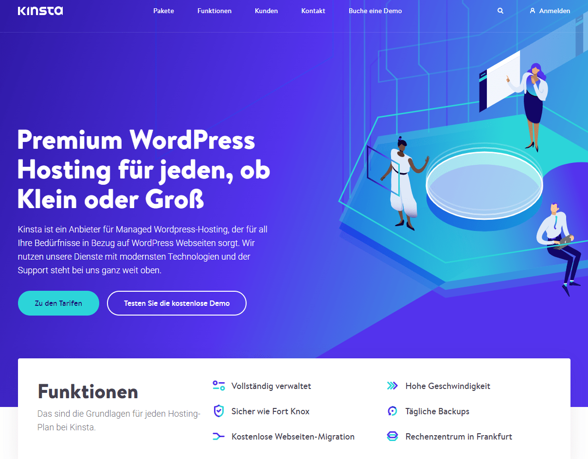 The Kinsta home page