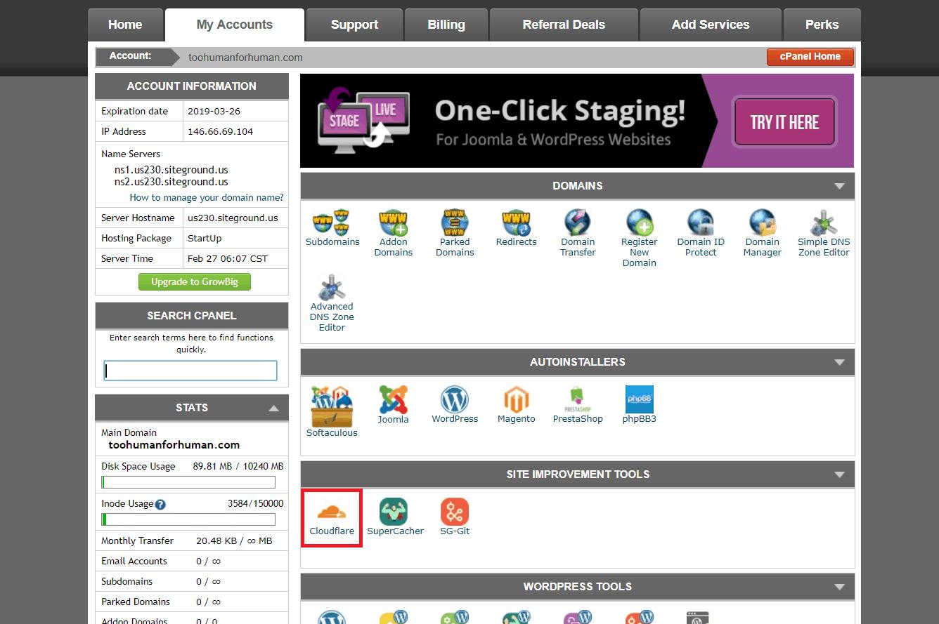 come attivare cloudfare sul pannello di siteground