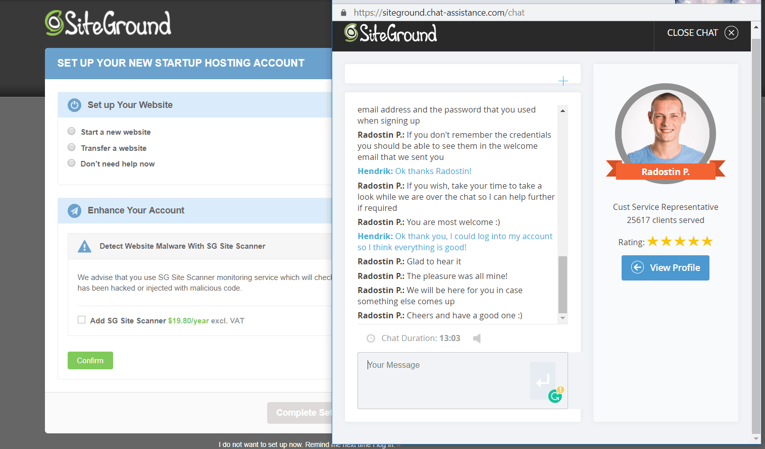 SiteGround Support Chat