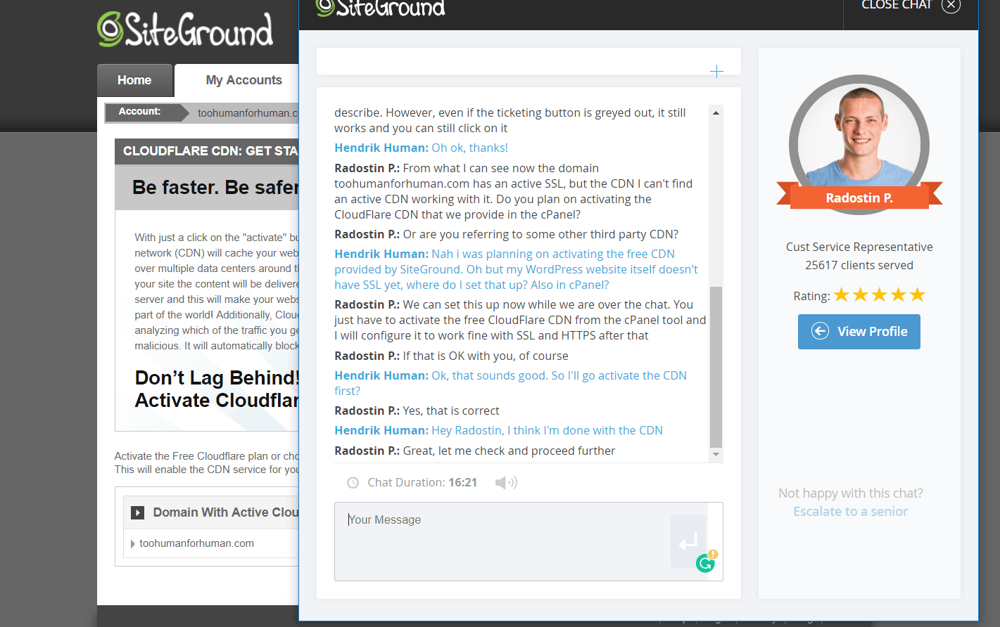 Chat SiteGround Support