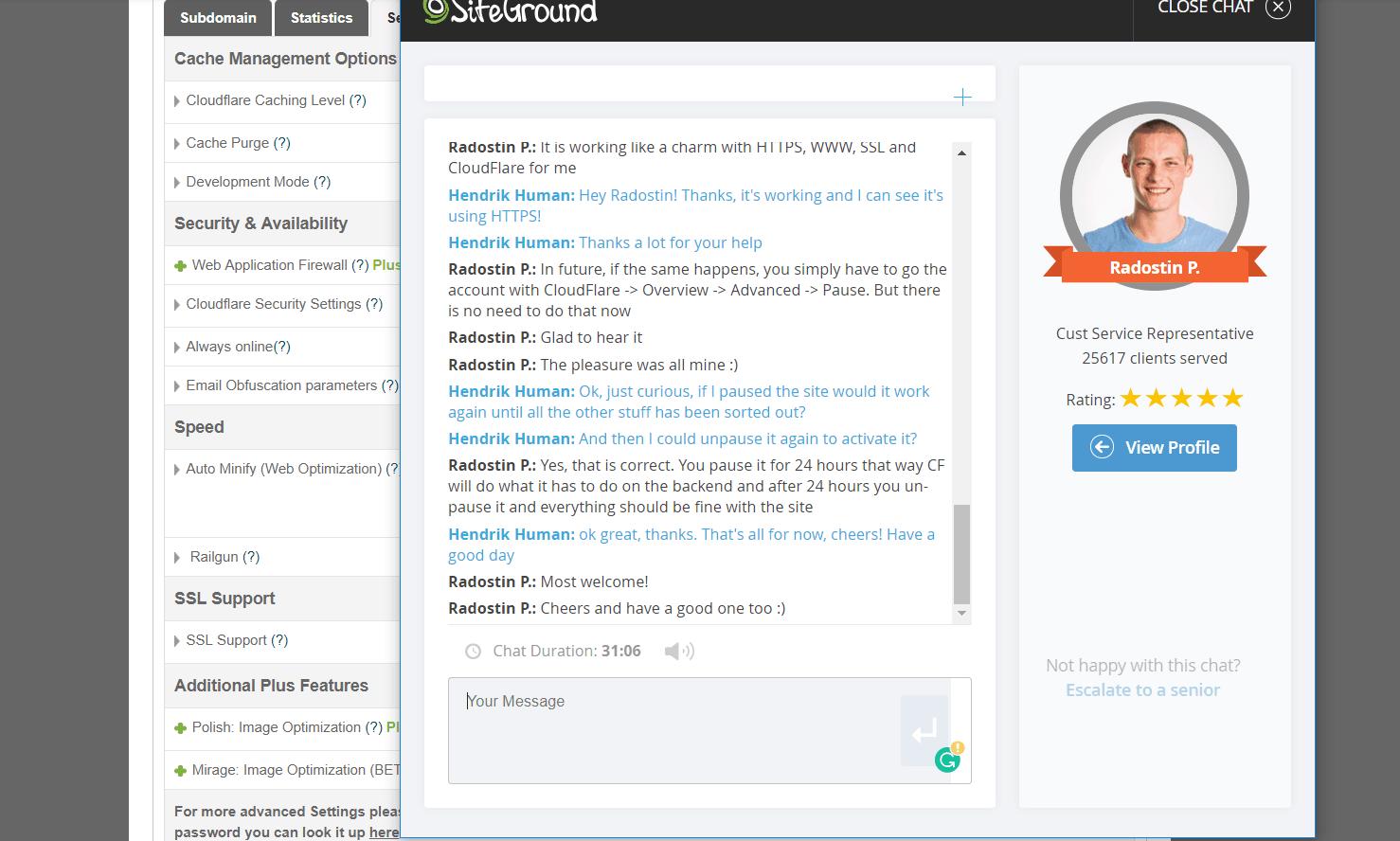 screenshot assistenza via chat con siteground
