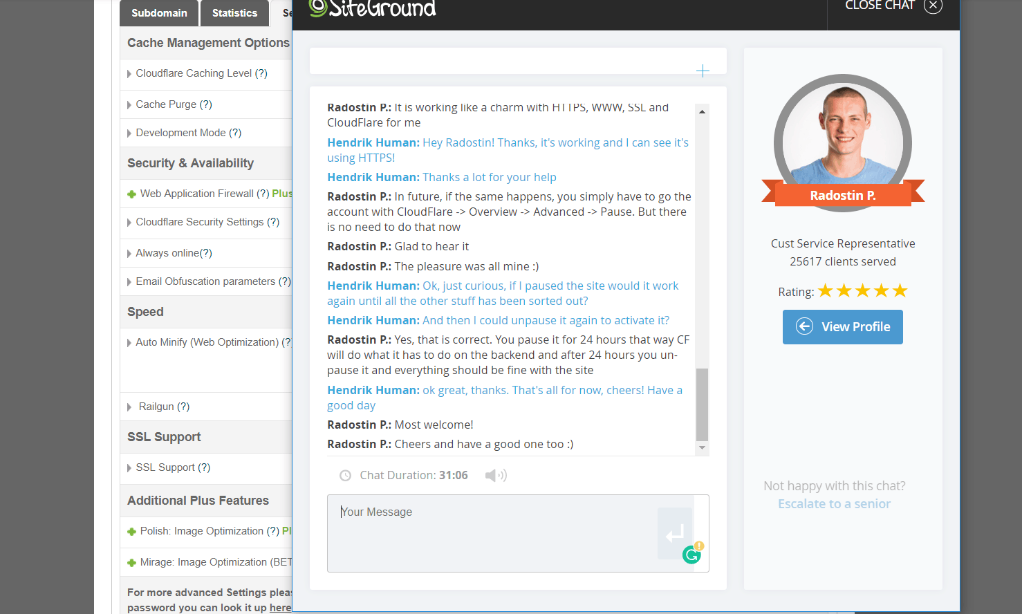 SiteGround Support Live Chat