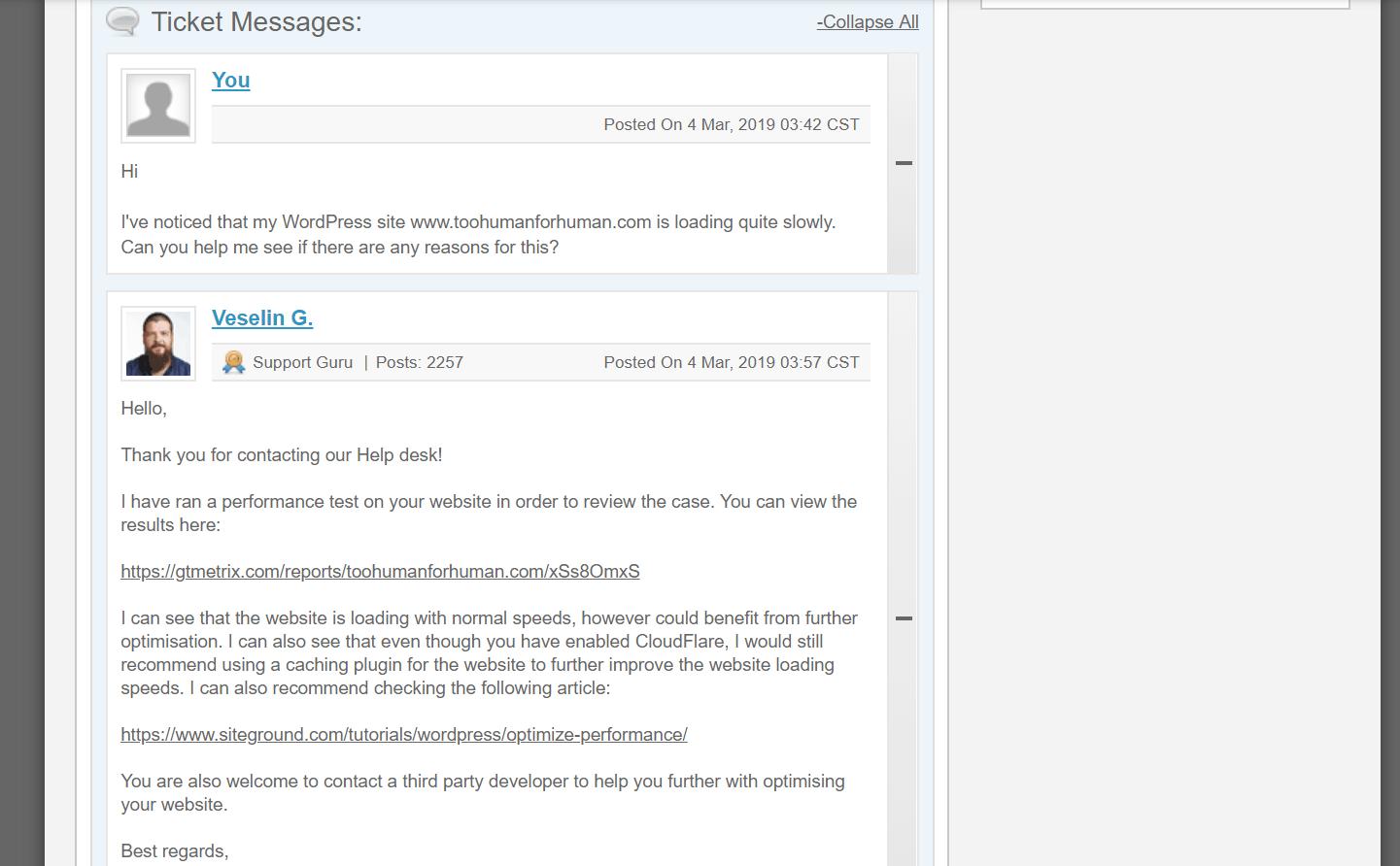 screenshot assistenza via email con siteground