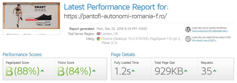 Performanță găzduire web HostVision