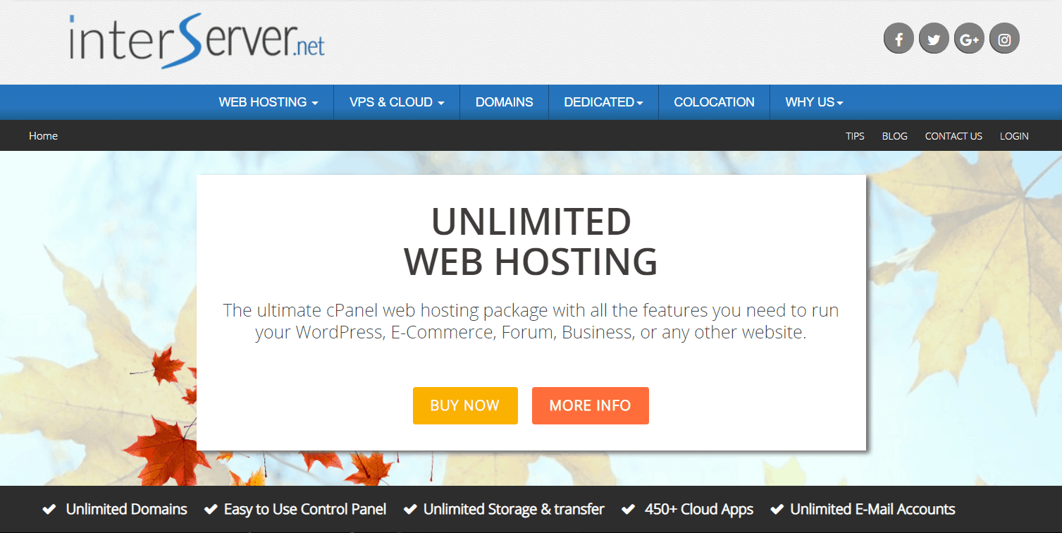 InterServer's website hosting homepage