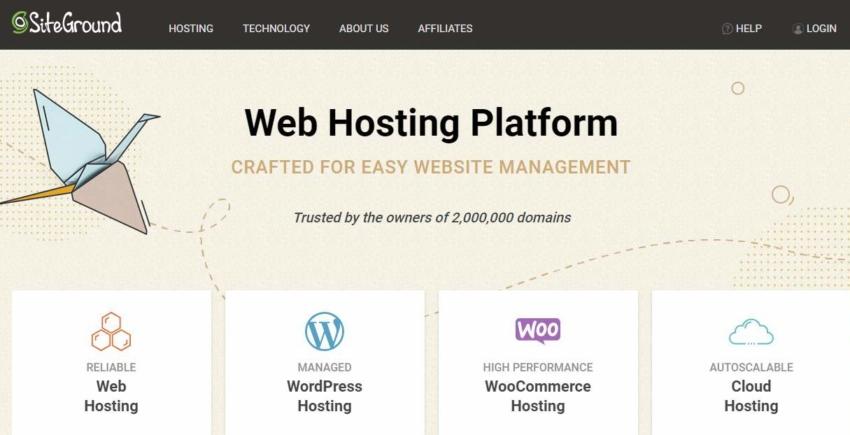 Siteground página inicial hospedagem