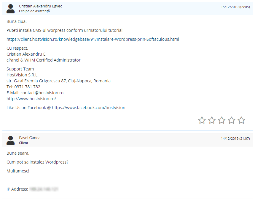 Test asistență HostVision
