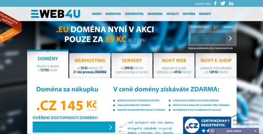 web4u přehled českých poskytovalů webhostingů