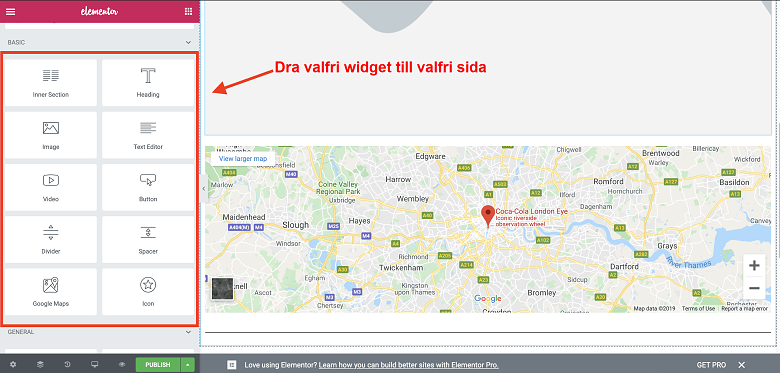 Dragging a widget from the left-hand bar onto your webpage with Elementor