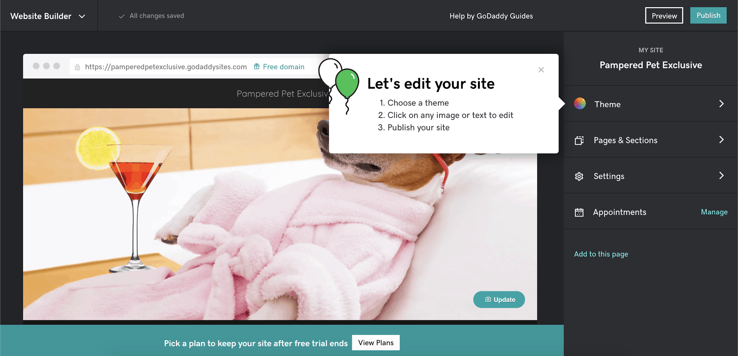 GoDaddy Website Builder editor
