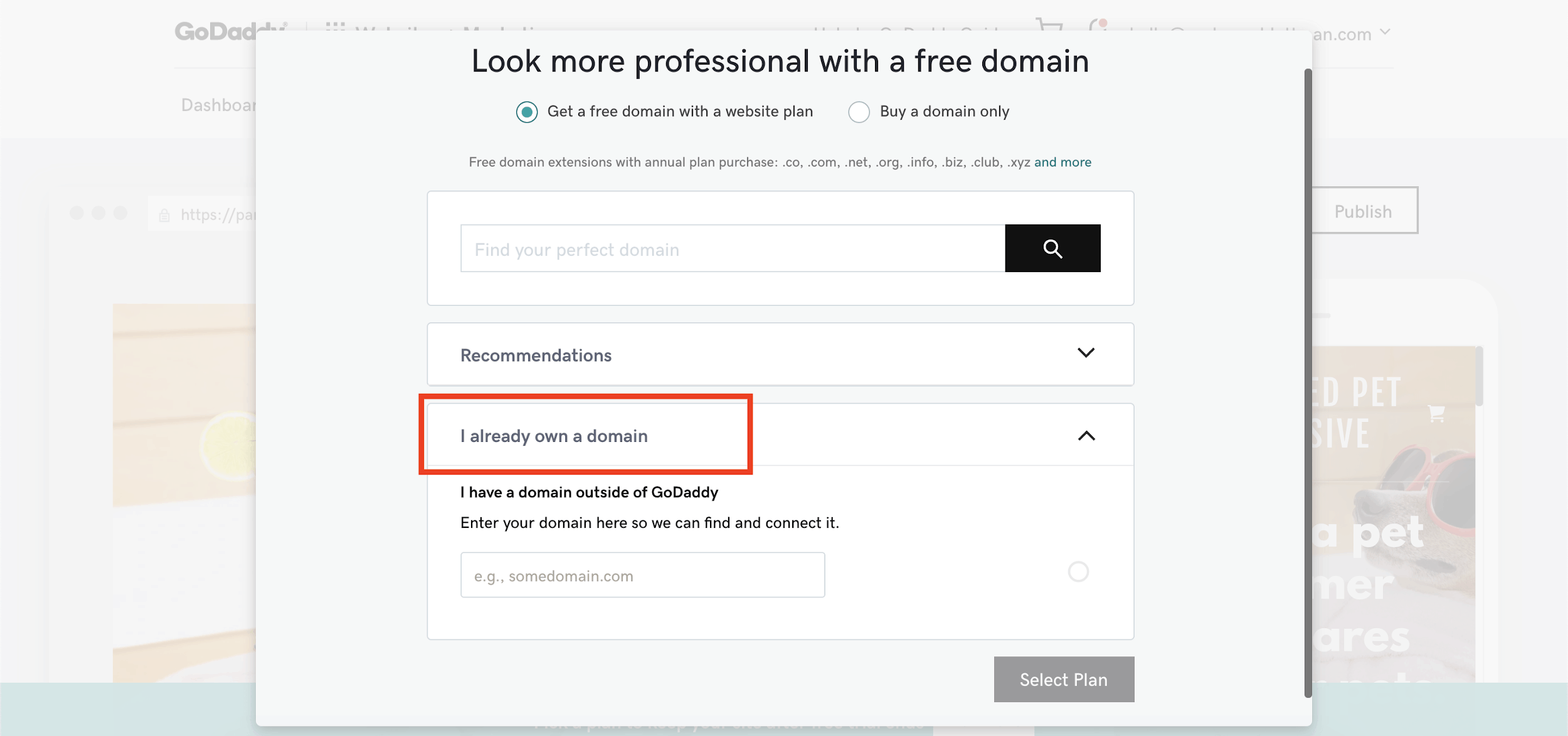 Connecting a domain to a GoDaddy website