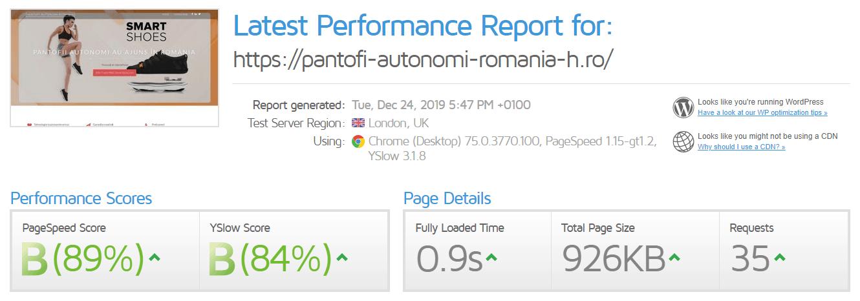 Performanță găzduire web Hostico