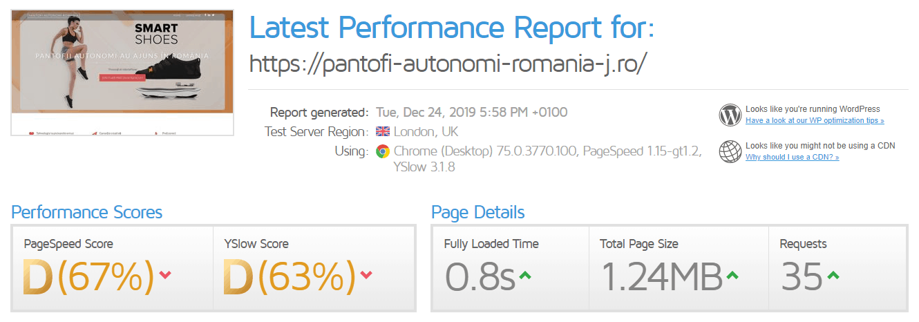 Performanță găzduire web TLH