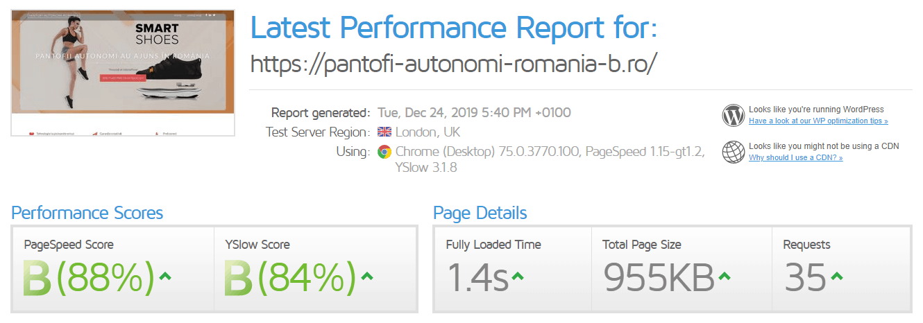 Performanță găzduire web Clausweb