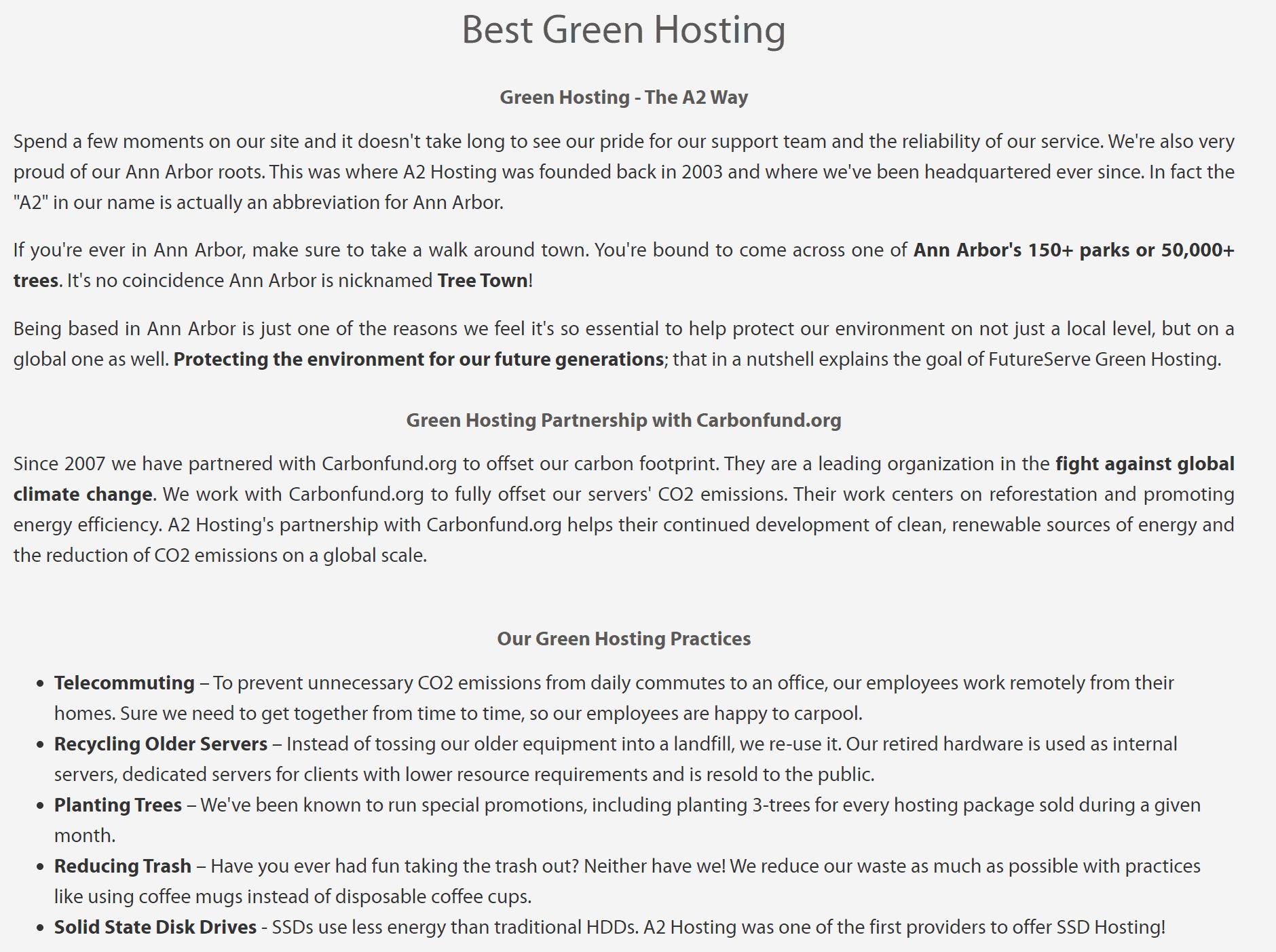 A2 Hosting green hosting