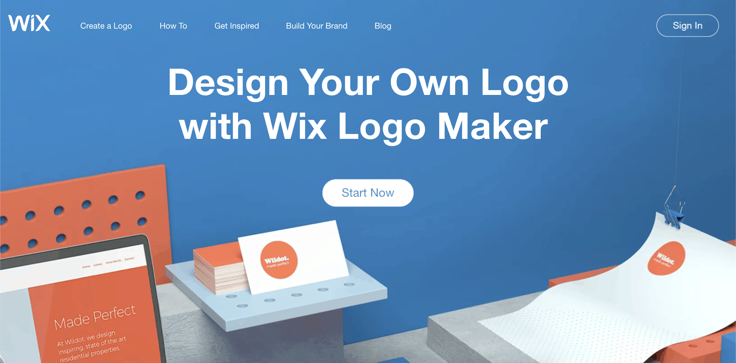 Wix Logo Maker homepage - screenshot