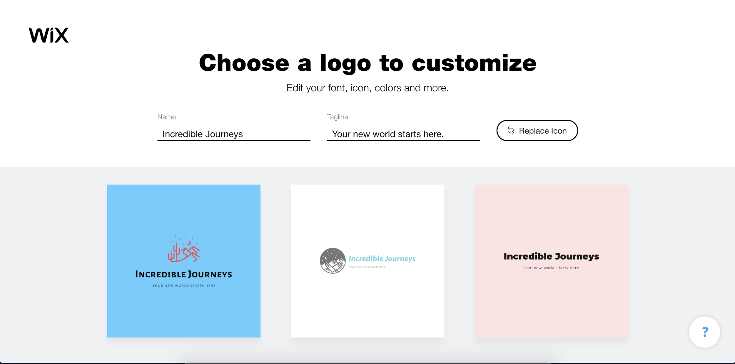 Wix Logo Maker screenshot - Choose a logo to customize?