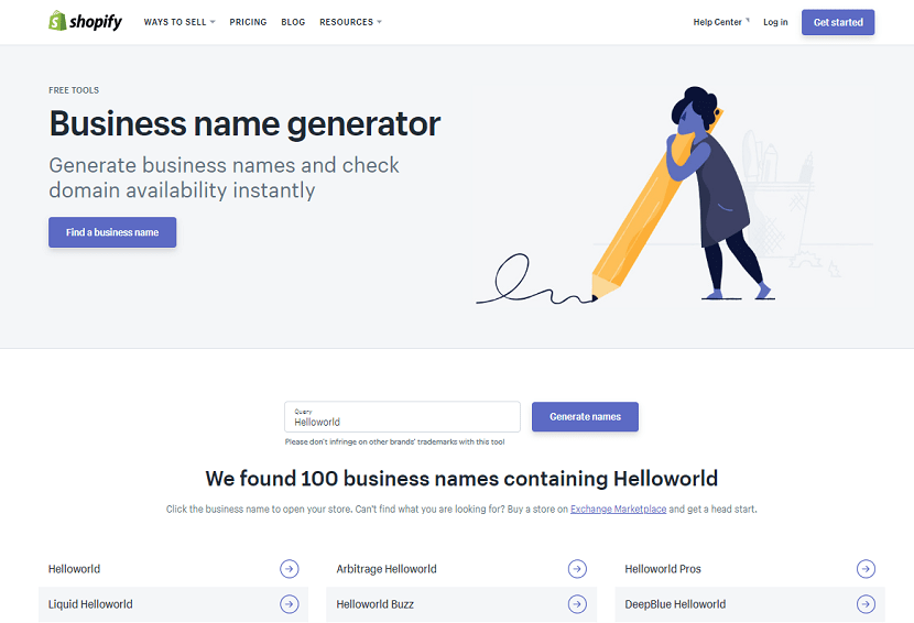 Shopify Business Name Generator domain generator