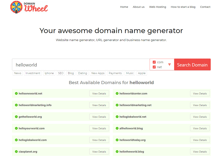 domain wheel domain name generator