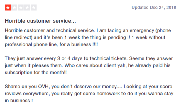 OVH trustpilot review 1