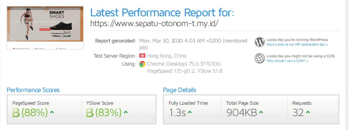 Hasil cek kecepatan website hosting di Dewaweb