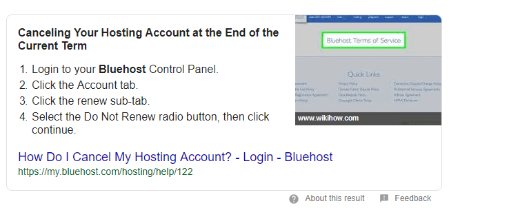 cancel bluehost