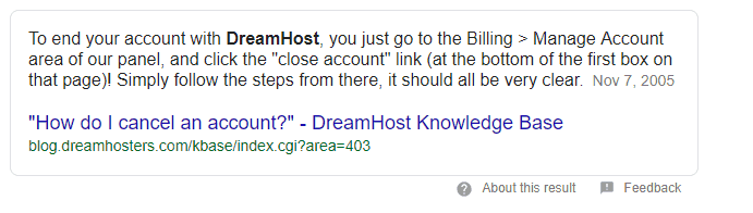 cancel dreamhost