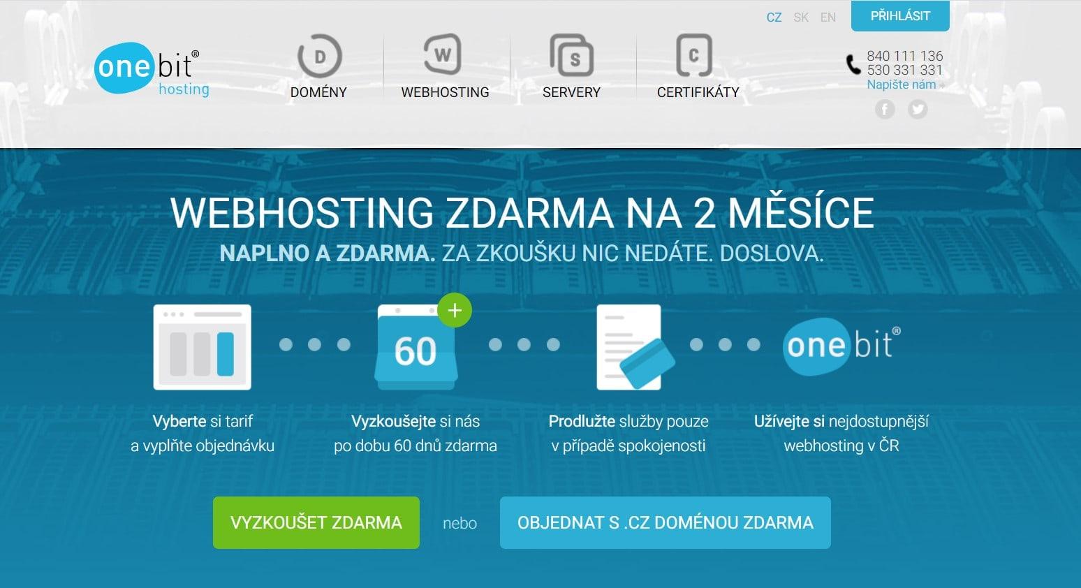 Hlavní stránka webu onebit.cz - výkonný hosting s garancí dostupnosti 99,99%