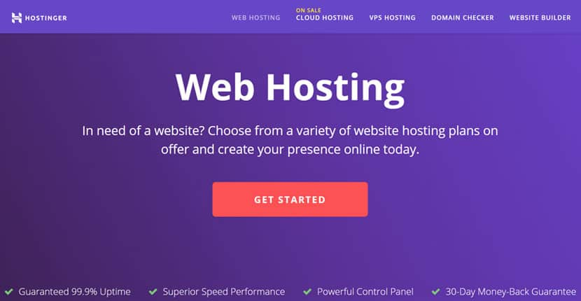 Hostinger homepage - alternative to Bluehost