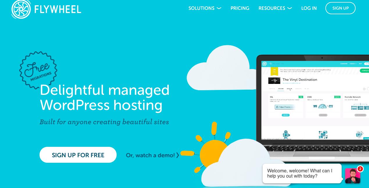 Flywheel homepage - alternative to Bluehost