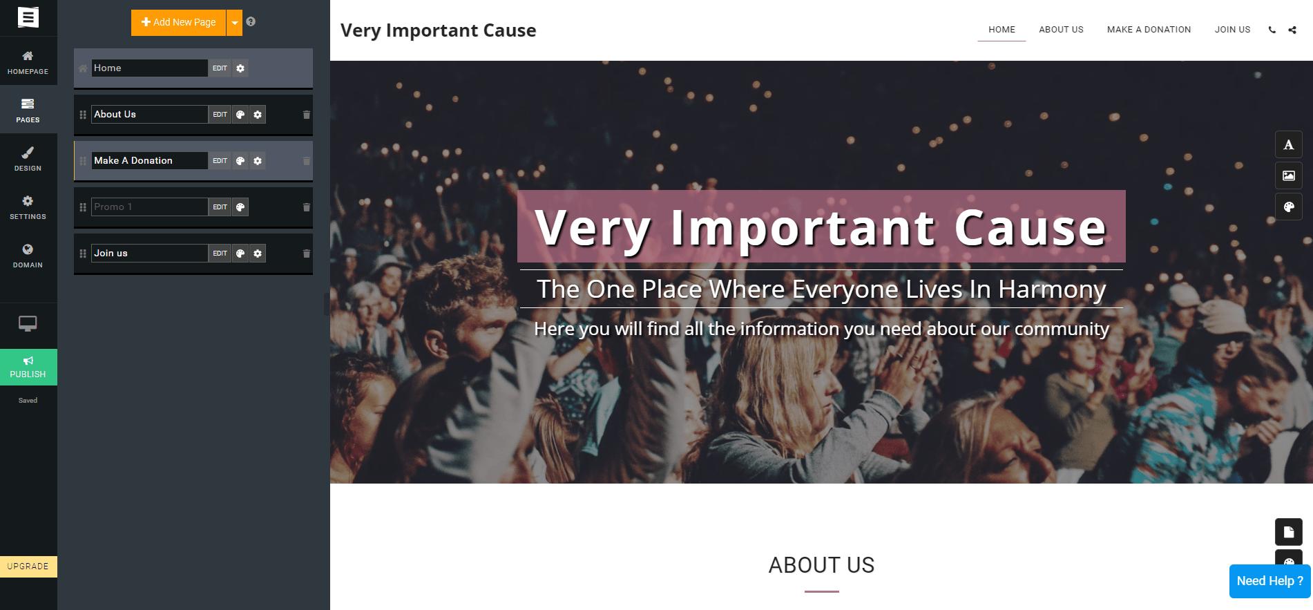 Site123 Nonprofit Template Editor