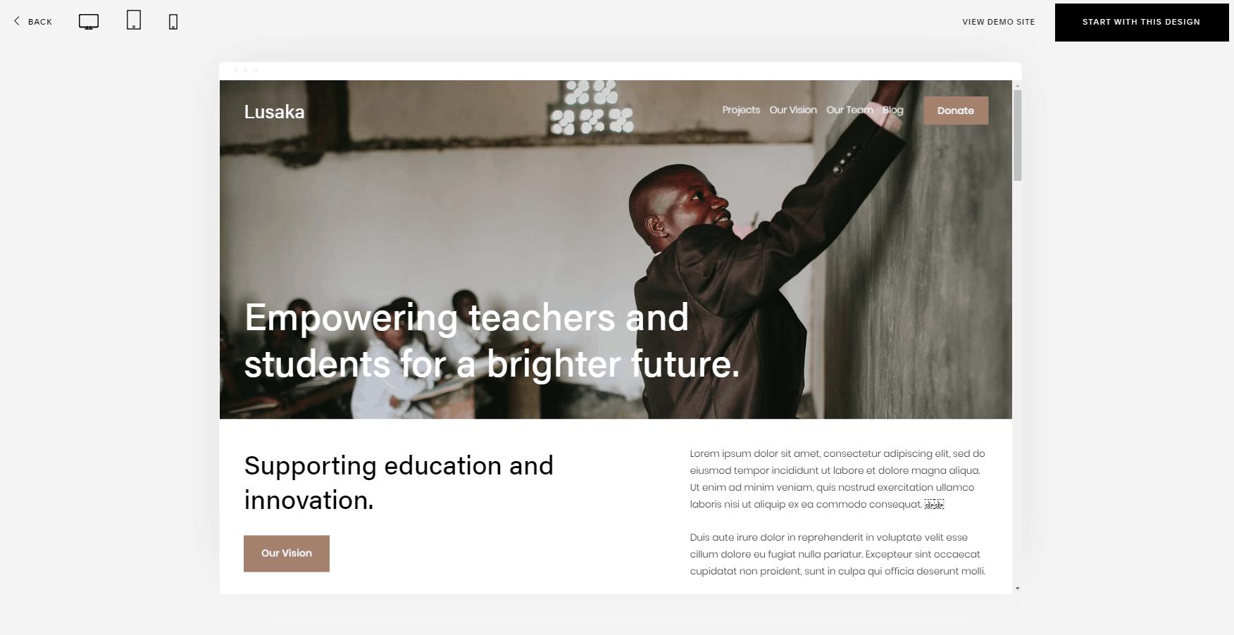 Squarespace Lusaka Nonprofit Template