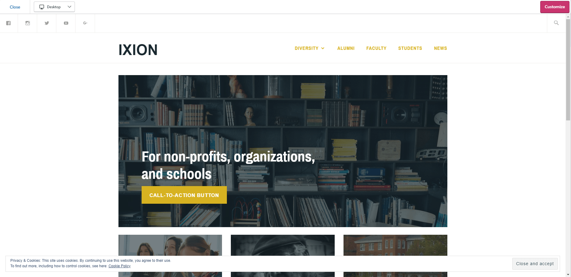 WordPress IXION Nonprofits Template