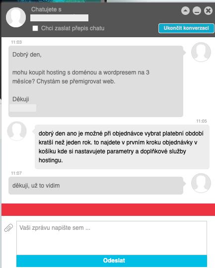 Ukázka odpovědi zákaznické podpory přes chat